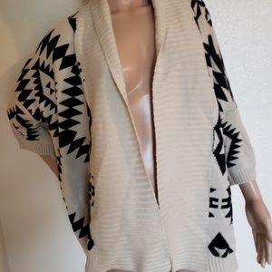 Forever 21 Black/White Aztec Open Front Cardigan